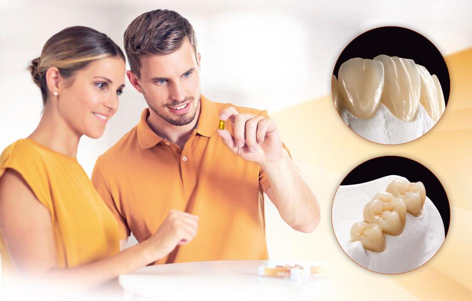 Prothésiste dentaire avec lingotin de céramique pressée VITA AMBRIA et couronnes