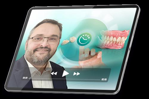 Une tablette avec capture d'écran de la voie du succès «Prothèse amovible numérique pour les débutants»