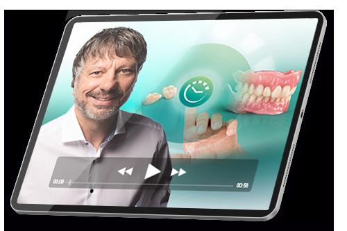 """Ein Tablet mit Screenshot aus dem Erfolgskurs """"Digitale Prothese für Einsteiger"""""""