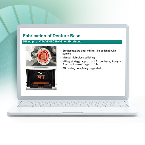 """Laptop showing extract of the webinar """"Digital dentures for beginners"""""""