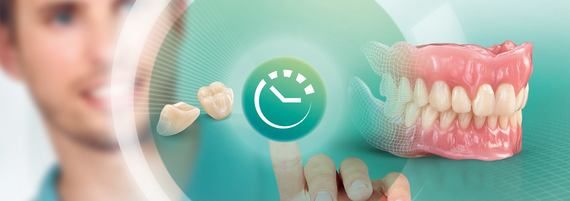 Con dientes preconfeccionados se confecciona una prótesis digital estética con solo pulsar un botón.