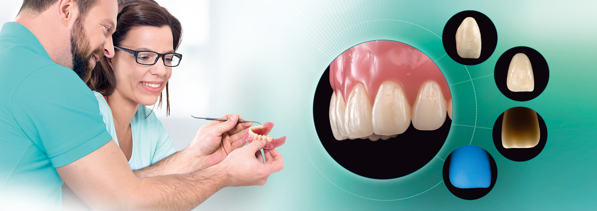 Two dental technicians looking at a digital denture. Various pictures of the denture tooth VITA VIONIC VIGO.