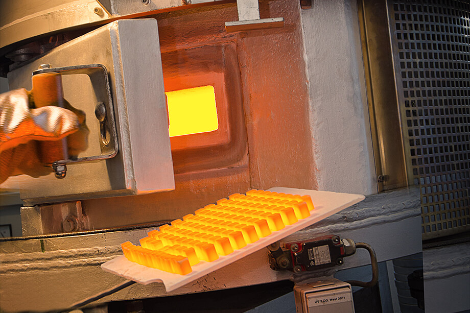 The glowing VITABLOCS on the firing tray