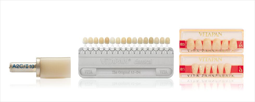 VITAPAN acrylic teeth, shade standard VITAPAN classical A1–D4, VITABLOC