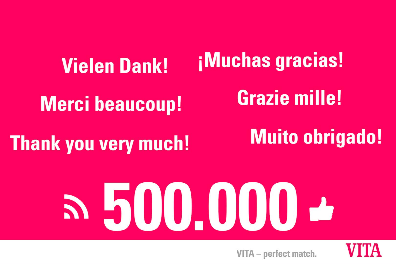 Die Facebook-Seite der VITA Zahnfabrik feiert 500.000 Likes.